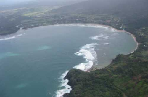 Hanalei Bay Kauai Hawaii seen from helicopter