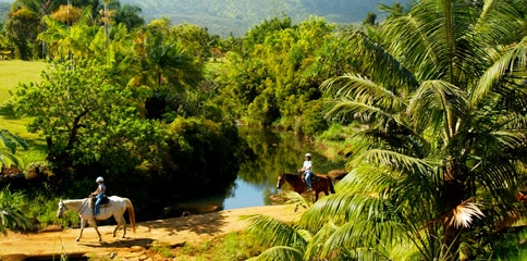 Horseback Riders at Silver Falls Ranch in Kauai Hawaii